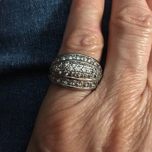 Sterling Silver & Diamonique Band Ring